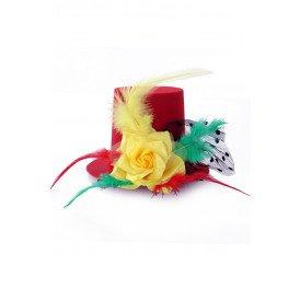 Mini hoedje rood/geel/groen met roos, veren en bolletjes gaas op speldjes