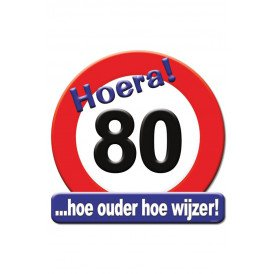 Huldeschild HOERA 80 JAAR 50x50 cm