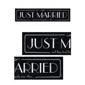 Nummerbord karton Just Married zwart