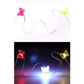 Ledverlichting snoer vlinders rood-wit-geel 20 lamps