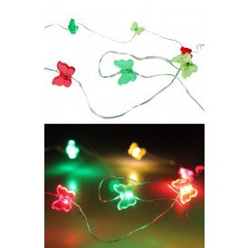 Ledverlichting snoer vlinders rood/geel/groen 20 lamps