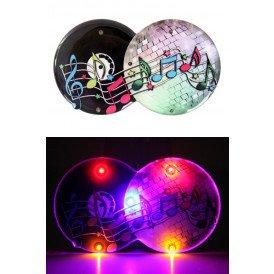 Speldje lichtgevend discobal muzieknoten 8 x 5 cm.