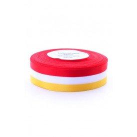 Medaille lint rood/wit/geel 25 meter op rol 25mm