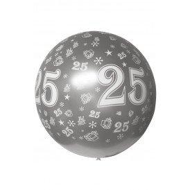 Megaballon bedrukt 25 metallic zilver 36 inch