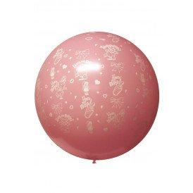 Megaballon HOERA EEN MEISJE rose 36 inch