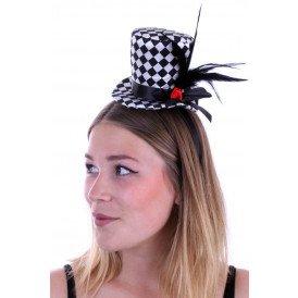 Mini hoedje zwart/wit geblokt met roos en veren