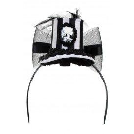 Mini hoedje zwart/wit met tule, veren en camee