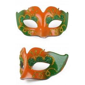 Mini deco oogmasker oranje /groen met glitters