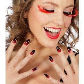Set wimpers en nagels zwart/rood