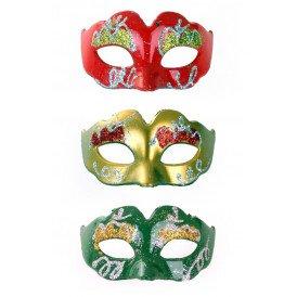Mini Decoratie oogmasker rood/geel/groen met glitters