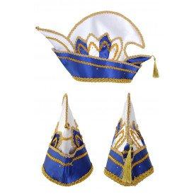 Prinsenmuts blauw/wit luxe met steen