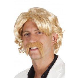 Pruik chuck met snor blond