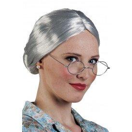 Pruik Granny zilver