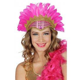 Samba tooi met pailletten en veren, neon-pink