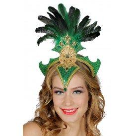 Samba tooi met veren, groen
