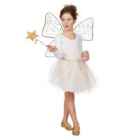 Set fee glitter (tutu/vleugels/toverstok), goud