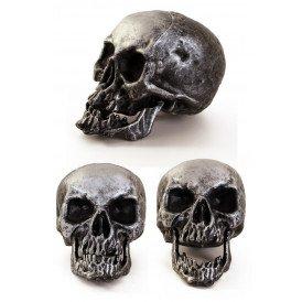 Skelet hoofd 18 cm. zilver