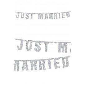 Vlaggenlijn Just Married glitter wit 170 cm.