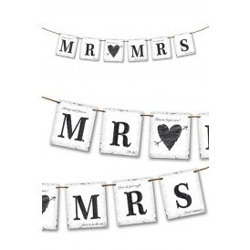 Vlaggenlijn Mr & Mrs 77 cm.