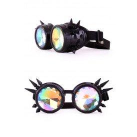 Steampunk goggles zwart met spikes