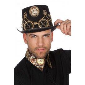 Hoed Steampunk met bril en ketting, goud