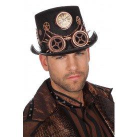 Hoed Steampunk met bril en ketting, brons