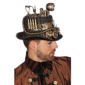 Hoed steampunk met mijnlamp (licht), goud