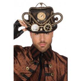 Hoed steampunk met bril en slangetjes, goud