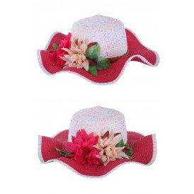 Strandhoed rose/wit met band en bloem