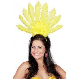 Tiara samba met veren, geel
