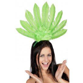 Tiara samba met veren, groen