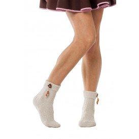 Tiroler sokken met houten hartje , Beige