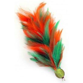 Verenpluim 30 cm buigbaar met speld en clip oranje-groen