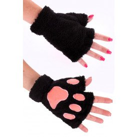 Vingerloze handschoenen pluche dierenpootje zwart