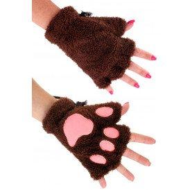 Vingerloze handschoenen pluche dierenpootje donker bruin