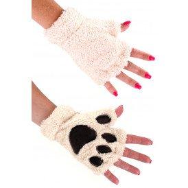 Vingerloze handschoenen pluche dierenpootje ecru