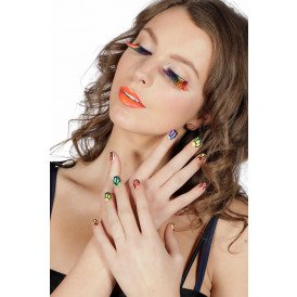 Set wimpers en nagels multi color