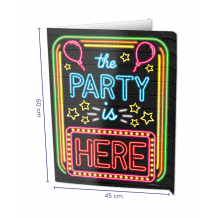 The party is here window sign