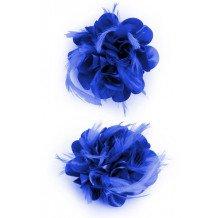 Bloem zijde met veertjes met clip/speld kobalt blauw