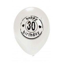 Ballon wit HAPPY 30 BIRTHDAY 24 inch Ø50 cm