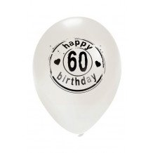 Ballon wit HAPPY 60 BIRTHDAY 24 inch Ø50 cm