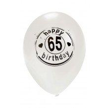 Ballon wit HAPPY 65 BIRTHDAY 24 inch Ø50 cm