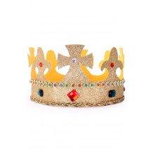 Kroon koning verstelbaar goud glitter met stenen