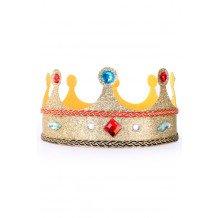 Kroon koningin verstelbaar goud glitter mer stenen