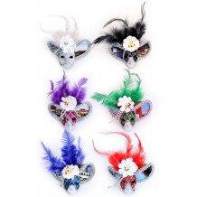 Mini decoratie gezichtsmasker + veren + bloem