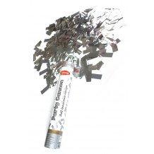 Party cannon Zilver folie 30cm5cm dia - twist systeem - 5cm perslucht fles.Inhoud: wit hout pulp papier strips (2 * 5 cm).