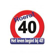 Huldeschild HOERA 40 JAAR 50x50 cm