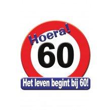 Huldeschild HOERA 60 JAAR 50x50 cm